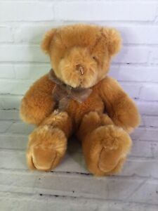 Gund Bunky Teddy Bear Gold Tan Brown With Bow Plush Stuffed Animal Toy 319701