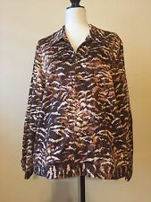 Alfred Dunner Long Sleeve Brown Rust Gold Multi Zip Jacket Top Size 18 EUC