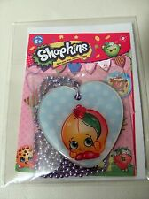Shopkins Season 3  Fashion Dog Tags PEACH - Heart Shape w Metalic Lavender Chain