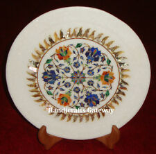 Exclusive Marble Inlay Plate, White Marble Handicraft Home Decorative Gift Item