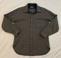 Vintage Mens Pendleton Wool Shirt Herringbone Plaid Brown Square 100% Wool Large
