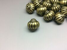 30 x metallic pumpkin beads bronze acrylic antique lantern shape 14mm hole 2mm