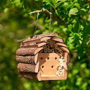 HANGING WOODEN INSECT & BEE HOTEL HOUSE BOX NEST BUG LADYBIRD GARDEN WILDLIFE