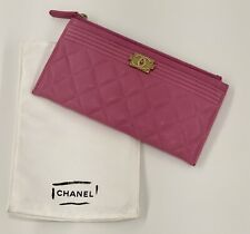 CHANEL Pink Chevron Long Boy Caviar Skin Pouch Wallet from OG Paris CHANEL Store