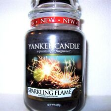 """Yankee Candle """"SPARKLING FLAME"""" Large 22 oz~ European Exclusive ~WHITE LABEL~NEW"""