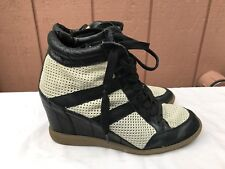Sam Edelman Bolton Wedge Heel High Top Sneakers Suede Leather Black White US 10M