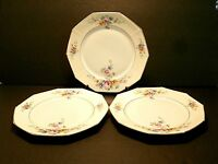 Tirschenreuth Wrexham Dinner Plates Pink Blue Yellow Flowers Gold Trim-Lot of 3!