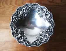 Antik Großartige Ablage Stativ Massiv Silber 925 Dekor Blumen IN Relief
