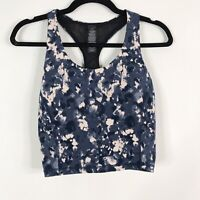 New Sweaty Betty Medium M Power Crop Top Snake Camo Print Blue Pink Racerback