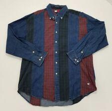VTG Tommy Jeans Denim Plaid Patchwork Button Up Longsleeve Shirt Sz Large Great