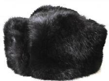 Rabbit Full Fur Russian Hat Ushanka, Real Fur Black Hat