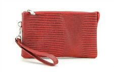 Genuine Leather Wristlet Wallet Travel Clutch W/ Zipper Money Compartment Red