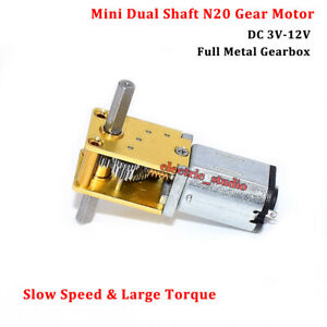 DC3V 6V 9V 12V Micro Mini N20 Gear Motor Full Metal Gearbox Dual Shaft Robot Car