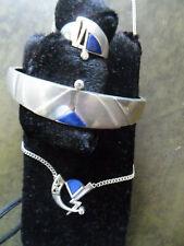 Designer Schmuckset 3 teilig Silber 925/000 Zirkonia Ring .18mm Armreif Collier