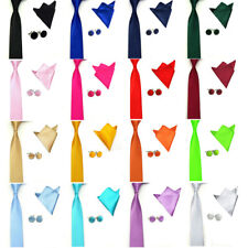Men Solid Color Satin Tie Necktie Handkerchief Pocket Square Hanky Cuff Link Set