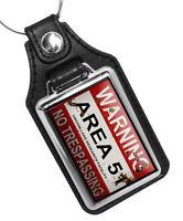 Warning Area 51 No Trespassing Groom Lake Facility Design Faux Leather Key Ring
