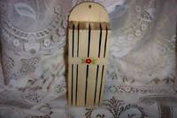 VINTAGE CHIC SHABBY DECAL FLOWER WOOD KNIFE HOLDER CHIPPY CREAMY 1930's COTTAGE