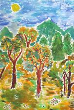 Vintage fauvist gouache painting landscape forest signed