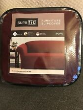 Sure Fit 1-pc Sofa Furniture Slipcover Stretch Honeycomb Wine