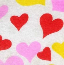 PRINTED PATTERN Felt White with Red Pink Yellow Hearts