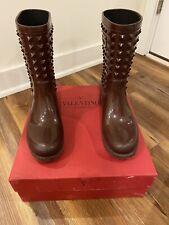 Valentino Garavani Rain Boots Red Rubber Rockstud AUTHENTIC (Sz 40)