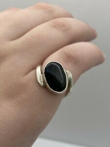 VTG Black onyx sterling silver 925 handmade ring size 6.5