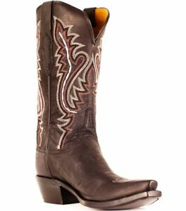 Lucchese Women's Cassidy Chocolate Madras Goat Snip Toe Western Boots M5002.S54