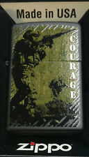 Zippo lighter Military Courage Armed Forces Black Matte RARE NEW IN BOX