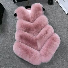Women Lady Warm Faux Fox Fur Waistcoat Jacket Coat Short Slim Vest Gilet Outwear Pink M