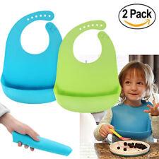 2PCS Waterproof Baby Silicone Bibs Feeding bib Kids Roll up Food Catcher Pocket