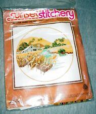 "Sunset Stitchery Summer Wheat Fields Embroidery Kit 16"" x 16"" #2475 vtg 1978 New"