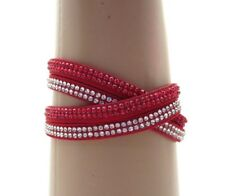 Red & Crystal Wrap Bracelet ~ Two Double Rows Two Snap Closure