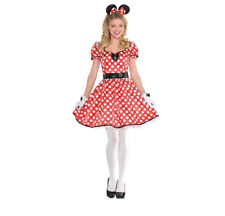 DISNEY MINNIE MOUSE SASSY ADULT WOMEN'S COSTUME RED WHITE L 10-12
