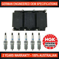 6x Genuine NGK Spark Plugs & 1x Ignition Coil Pack for HSV Commodore VN 3.8L LG2