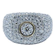 5.00 Kt F Vs1 14k Oro Giallo Uomo Anello Diamante