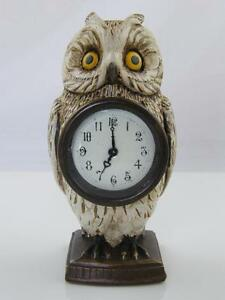 NOVELTY COLD PAINTED BRONZE OWL CLOCK
