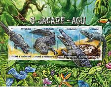 Sao Tome & Principe 2015 MNH Black Caiman 4v M/S Reptiles Crocodiles Jacaré-açu