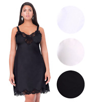 Illusion Women's Nylon Full Slip With Lace Trim Adjustable Straps Plus Size 1112
