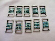 "1""  Bronze Tone Metal Embellishments Blue Glass Rhinestones Connectors 8 pieces"