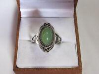 Vintage Ring  GORGEOUS Chrysoprase Silver 875 Soviet Antique Size 10