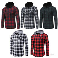 Fashion Men's Casual Plaid Coats Hoodie Cotton Flannel Long Sleeve Shirt Jackets