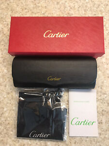 CARTIER Eyeglasses Hard Case BOX/CASE Black Leather FRANCE Magnetic Closure. New