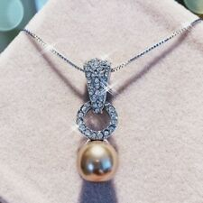 Lab Brown Pearl Charming Circle Necklace 18K White Gold Gf Made With Swarovski