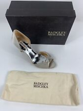 Badgley Mischka Jennifer Silver Satin Women's Evening High Heels Pumps 9 Wedding