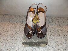 Vintage Nordstroms Brown Leather Peeptoe Slingback Heels in Size 6-Euc