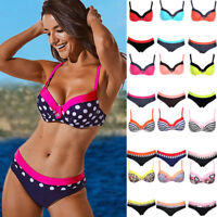 SEXY Women Swimwear Push-up Bikini Set Padded Bra Bandage Bathing Suit Swimsuit