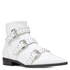 NWOB $130 Nine West Seraphim Buckles Ankle Booties Size8.5 White Pointy Studded