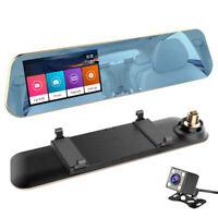Full  1080P Touchscreen Car DVR Dual Cameras Rear View Mirror Night Vision  V3Q9