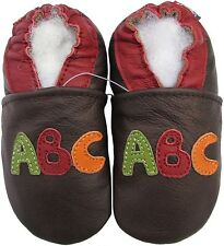 carozoo Abc dark brown 6-12m soft sole leather infant baby shoes