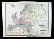 1887 Bradley Map - Europe - Austria Germany Italy France Spain Brtiain Russia